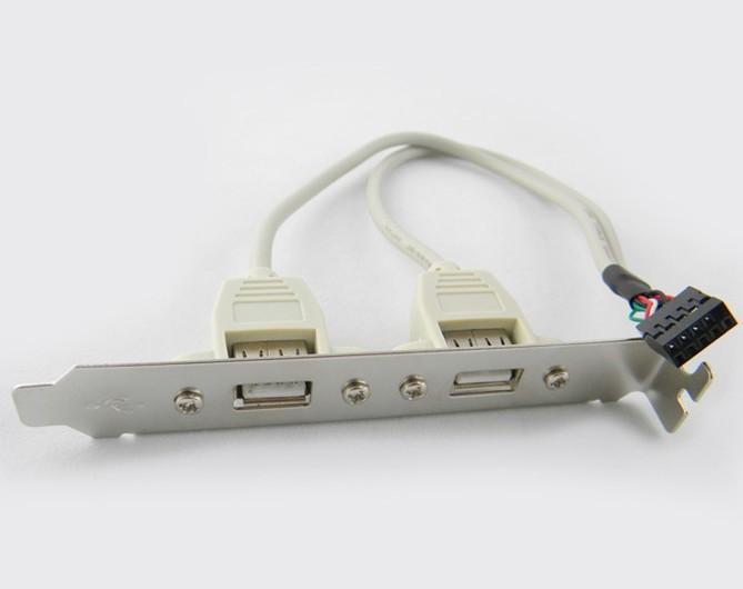 100 шт / много Материнская плата 2 порты 2-портовый USB 2.0 Разъем заголовка Кронштейн расширения для материнской платы , по FedEx