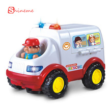 0-3 years baby educational children car toy styling ambulance doctor model electric toy car remote control with light and music(China (Mainland))