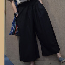 Chinese National Style Elastic Waist Cotton Linen Women Pants 2015 New Loose Solid Color Plus Size Casual Wide Leg Pants(China (Mainland))