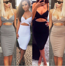 New 2015 Ladies Womens Sleeveless Sexy False 2 Piece Set Bandage Bodycon Dress Women White Black Club Summer Dress(China (Mainland))