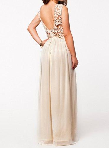 Black Bandage Dress Lace Vestido Hollow Design Sleeveless Round Collar Backless Maxi Women - Fashion Dresses store
