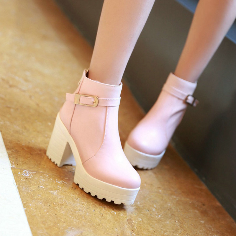 Size 34-43 Winter ladies shoes Classic Round Toe Flock PU leather Square High Heel Ankle Boots Fashion Women Shoes 4colour Pink<br><br>Aliexpress