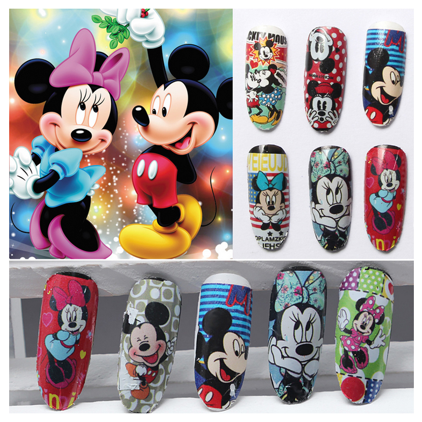 12 Styles Nail Art Water Transfer Sticker Decals Cute Mickey Mouse Cartoon Stickers Wraps Tips Decoration QJ-445-456(China (Mainland))