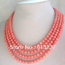 hot free Shipping new 2014 Fashion Style diy Fashion jewelry 4 Strands 6-7mm Pink Coral Necklace MY5188(China (Mainland))