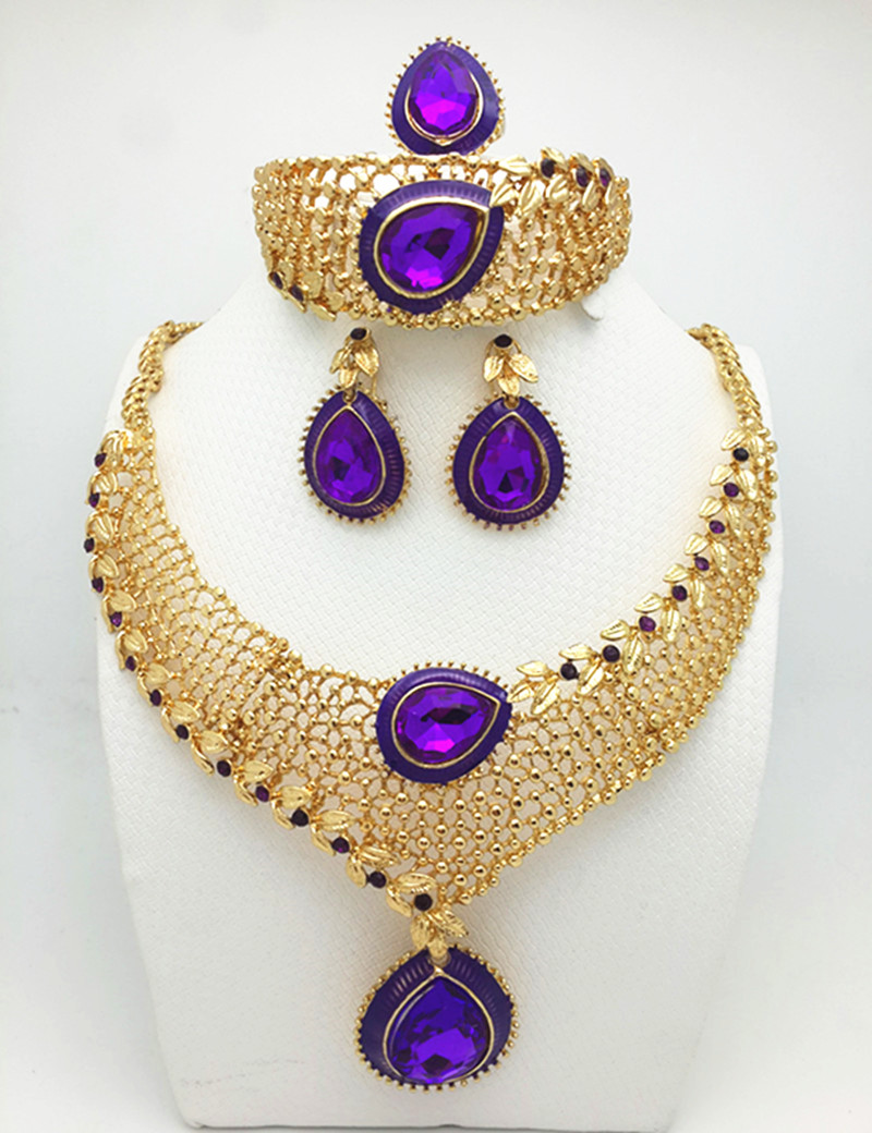 free shipping Jewelry Sets For Women Party Accessories Pendant African Beads Crystal Necklace Earrings Bracelet Rings set(China (Mainland))