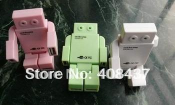 Free Shipping 3pcs/lot New Cartoon Robot Mini 4-Port USB 2.0 Hub for PC Laptop Notebook Hi Speed USB HUB with 4 ports