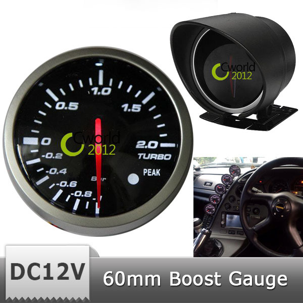Free Shipping Car Auto DC 12V 60mm Boost Gauge Red White LED Light -1 to 2 Bar Vehicle Motor Refit Electrical Accessory(China (Mainland))