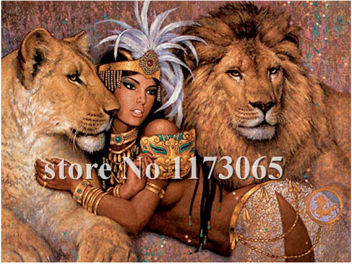 Hot Sell Modern Wall Home Decoration HD oil Painting Print 40*50cm Art Picture Paint on Canvas with frame beauty and lion YH20(China (Mainland))