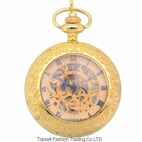 2015 Antique gold Skeleton Dial Alloy Case Analog Hand Wind Clock Necklace Steampunk Men Mechanical Pocket Watch - WanDa Fashion Trading Conpany store