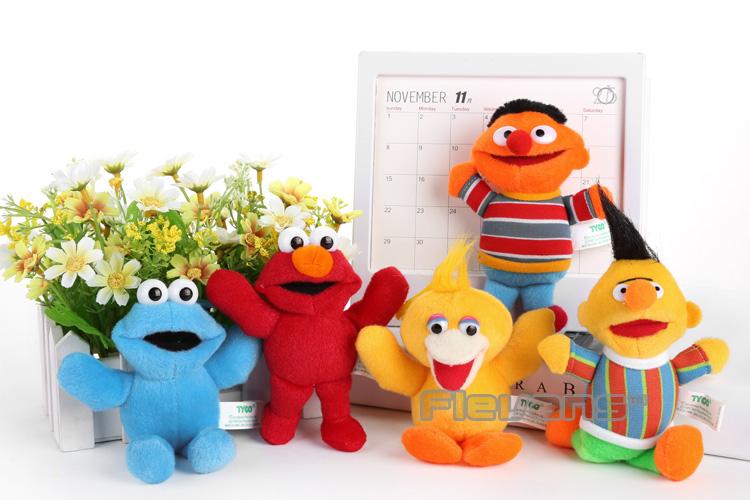 "5pcs/set Sesame Street Elmo Big Bird Plush Toy Doll with Keychain 5"" 13cm Soft Stuffed Doll ANPT375(China (Mainland))"