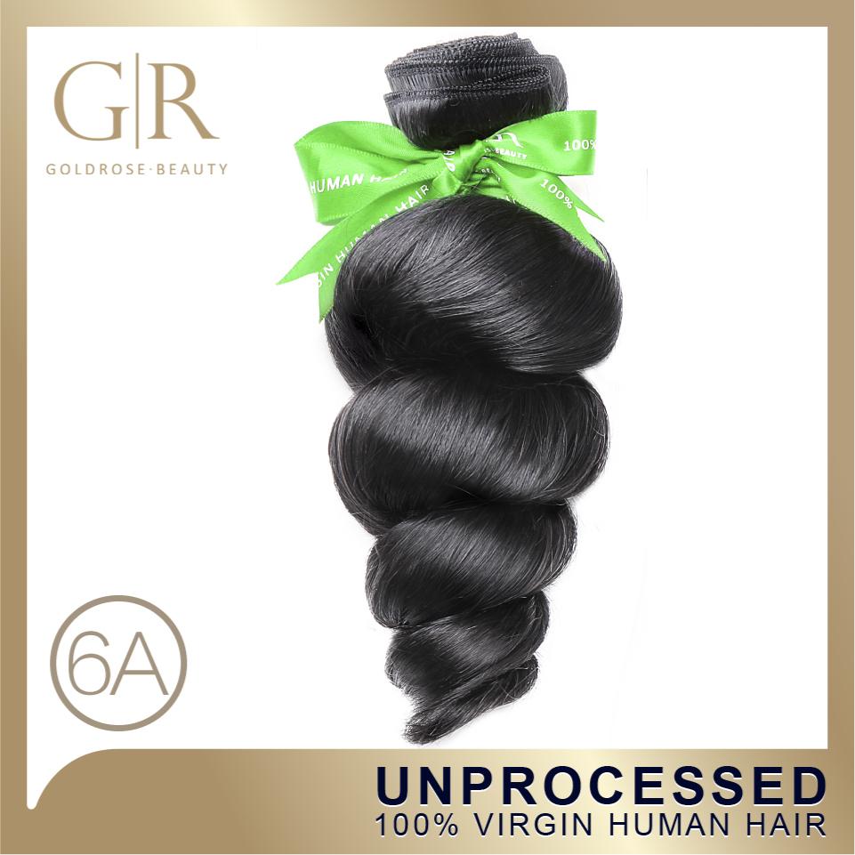 GoldRose Hair Wet and Wavy Virgin Brazilian Hair Human Hair Weave 1 Piece Brazilian Loose Wave 8-30inch (Natural Black Color)(China (Mainland))