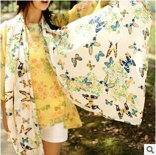 Испания бабочки зимнее шарфы зимы женщин шарфом бархат богемия мода типа шелковый шарф бесплатная доставка