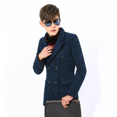 2015 Man Trench New Styles Coat Fashion Dot Double Breasted Slim Type Flannel Fabric Multi Color Selection 311-DY33(China (Mainland))