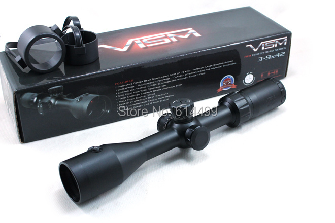 VISM Center Beam 3-9X42 Tactical Riflescope w/ Integrated 1mw Red Laser Sight Hunting Rifle Scope(China (Mainland))
