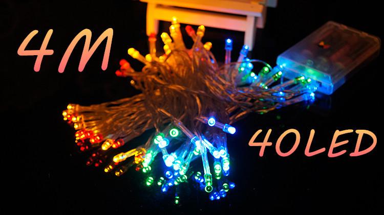 New LED Light Strings 4M 40LED for Holiday New Year Party Batteriebetrieben Battery Lamp night Garden Outdoor fiesta de bodas(China (Mainland))