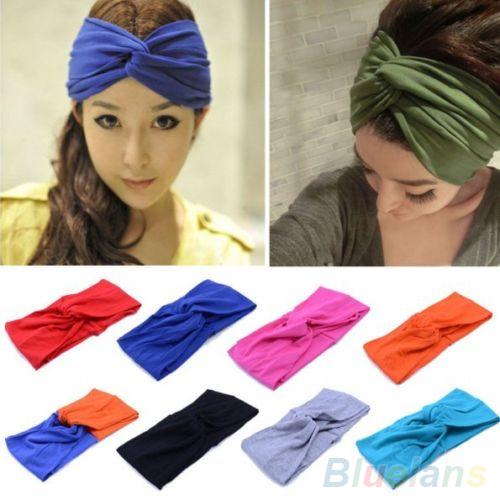 Women's Sports Elastic Turban Twisted Hair Band Head Wrap Sweatband Headband 2MCX 2O18(China (Mainland))