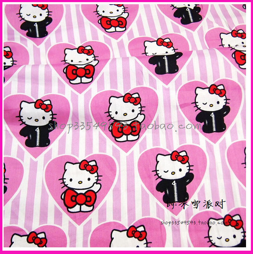 140x50cm1pc Nice 100%Cotton Fabric Hello Kitty Cat Printed DIY Tissue Patchwork Telas Felt Sewing Baby Toy Quilting Plain Tecido(China (Mainland))
