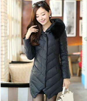 Hot selling 2014 warm thickening skinny medium-long down jacket laides irregular cut slim winter parkas plus size women's coat