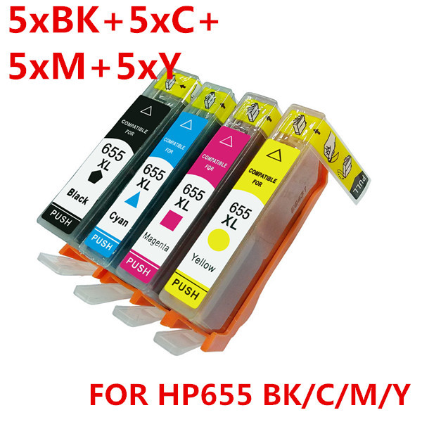 20 pcs 5 set  of HP655 Compatible ink cartridge for HP655 HP655XL HP Deskjet 3525/4615/4625/5525/6520/6525 printer<br><br>Aliexpress