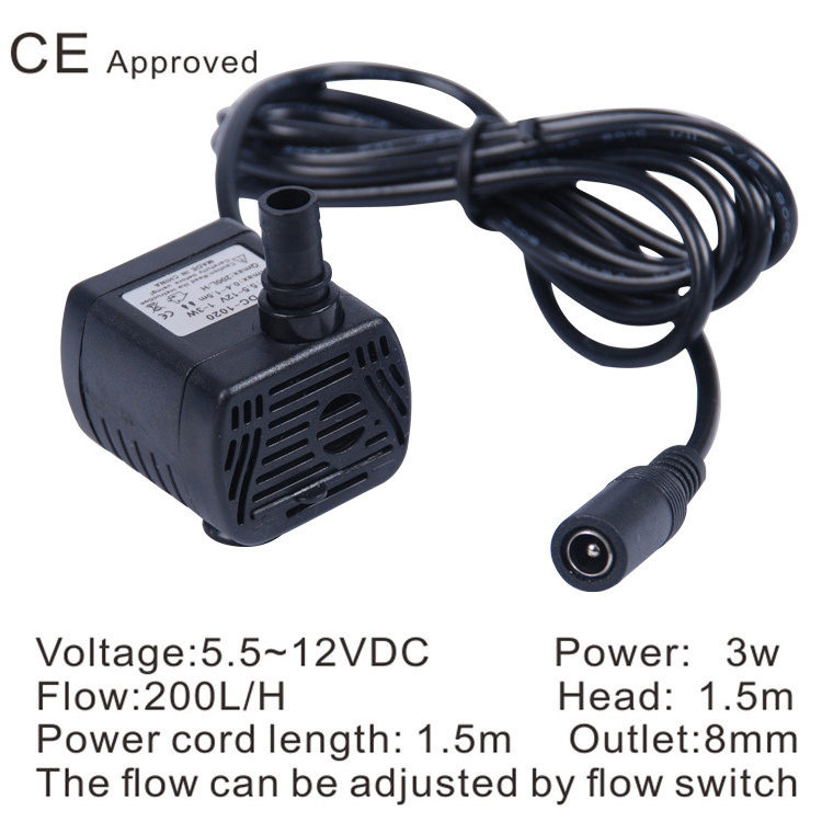 CE Approved Brushless submersible pump DC-1020, 5.5~12 VDC use for household small appliances,solar pumps,circulate fish jar,(China (Mainland))