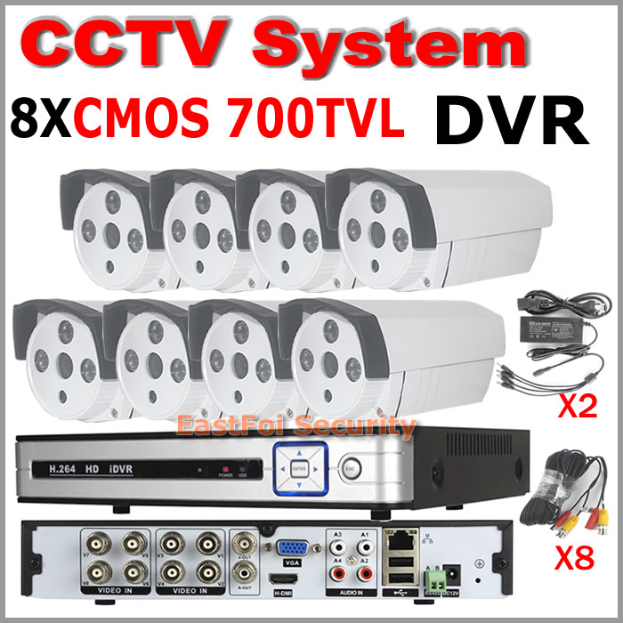 Full HD 8ch security system h.264 standalone CCTV DVR 700TVL Ircut waterproof bullet Security camera home surveillance system<br><br>Aliexpress