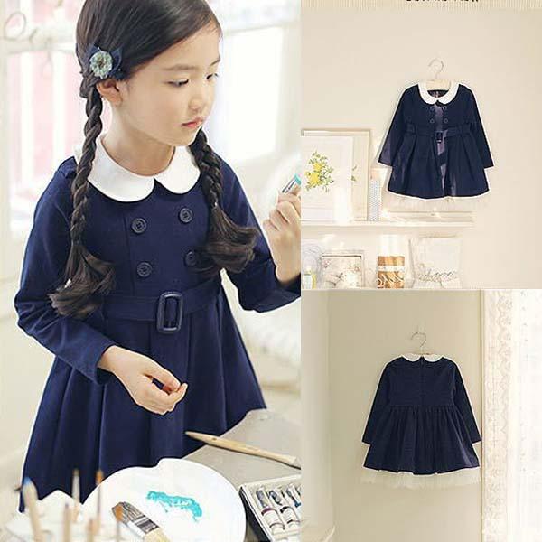 1-6Y Kid Girls Princess Dress Long Sleeve Lapel Belt Dress Academy Costume(China (Mainland))