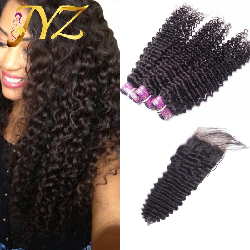 Гаджет  Virgin Brazilian Curly Hair With Closure Cheap Human Hair Brazilian Virgin Hair With Closure Brazilian Deep Curly With Closure None Волосы и аксессуары