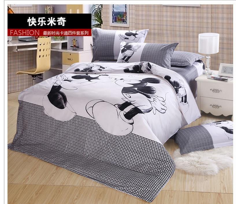 livraison gratuite roi reine ensemble de literie noir et blanc mickey minnie souris cartoon. Black Bedroom Furniture Sets. Home Design Ideas