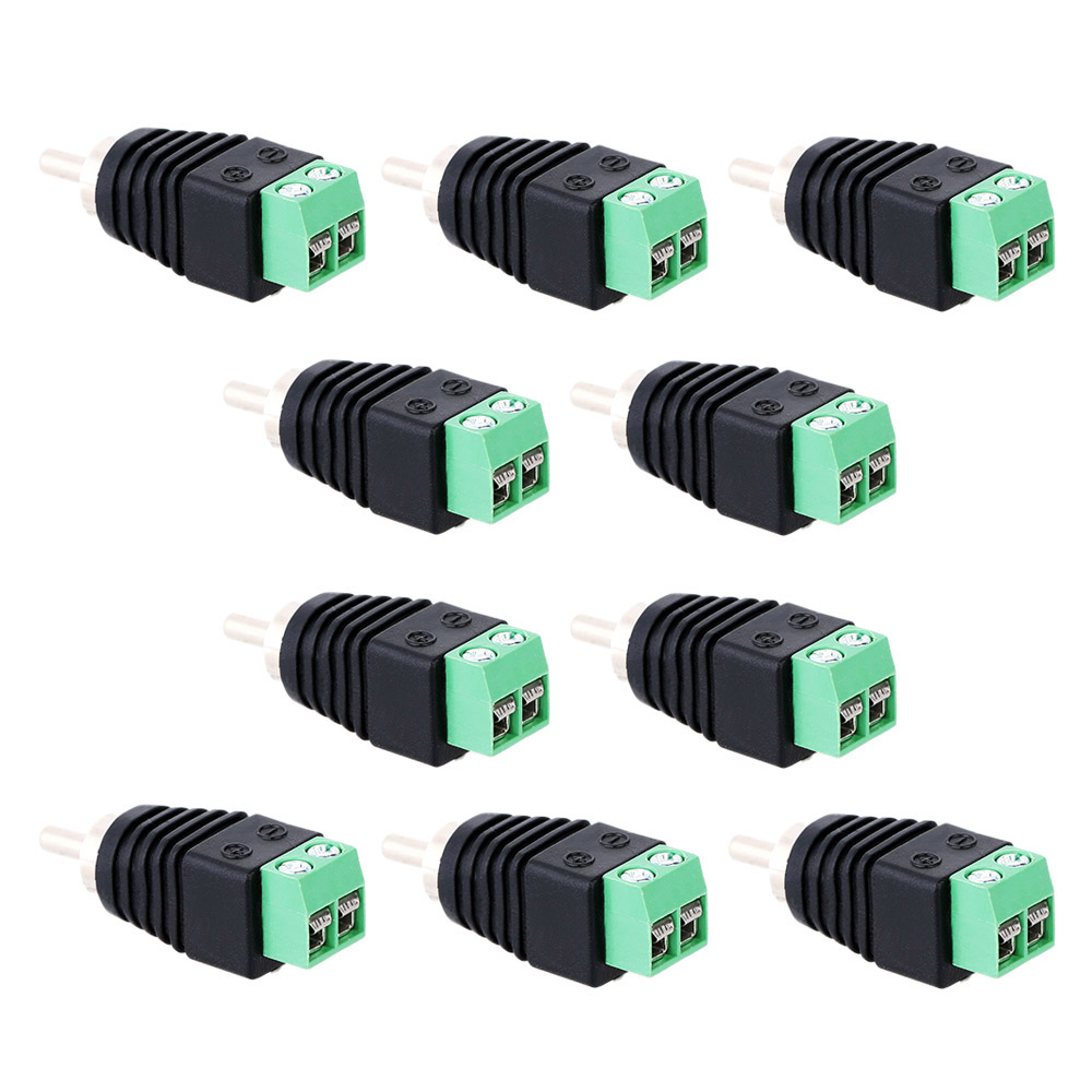 10pcs CCTV/DVR/AV Devices Accessories Video Balun Connector Phono RCA Male Plug to AV Screw Terminal Block Connector kit Tools(China (Mainland))