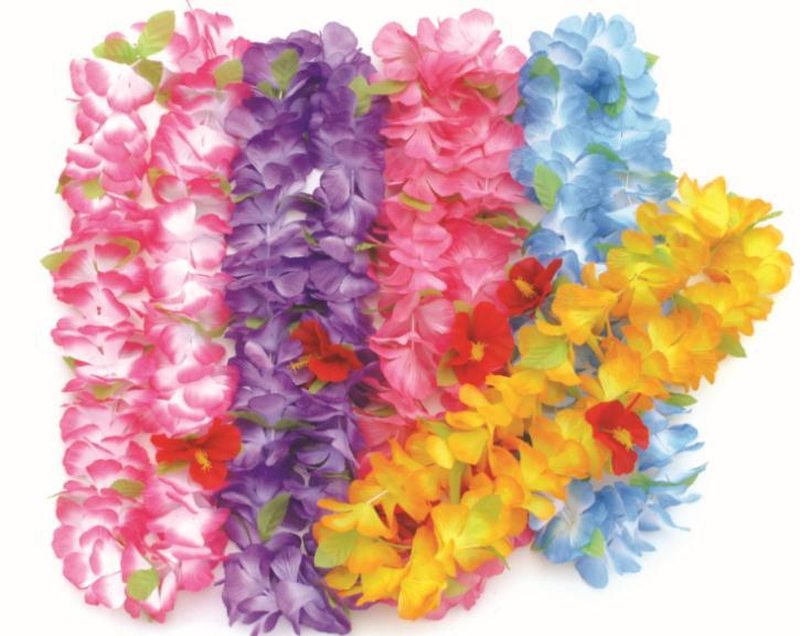 Free shipping, party supplies hawaiian flower lei garland/wreath cheerleading products artificial necklace 50pcs/lot HH0007