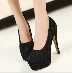 Princess red wedding shoes ultra high heels single shoes 2013 spring and autumn lace paillette women's high-heeled shoes