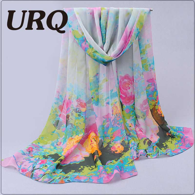 Hot popular scarves Chinese Ink Flower Printed woman long soft Chiffon Silk scarves echarpe women P5A16388(China (Mainland))