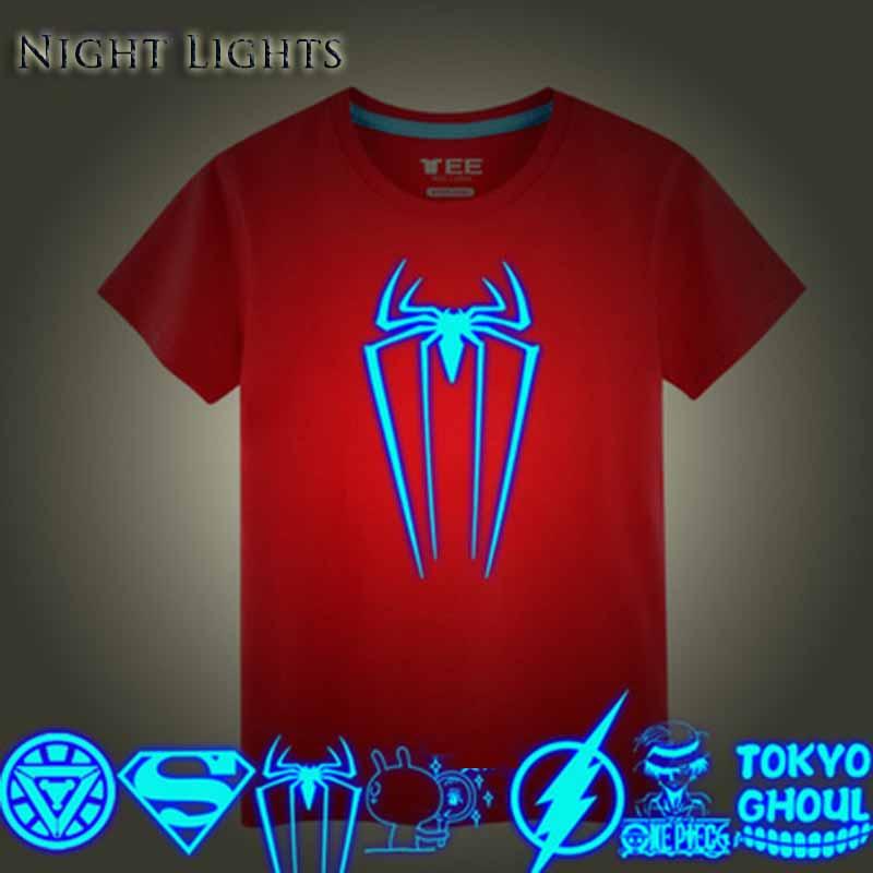 Kids clothes summer sport t shirt night lights outerwear teenage noctilucence shirt Boys short sleeve Children