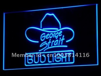 a116-b Bud Light George Strait Bar Pub LED Neon Light Signs