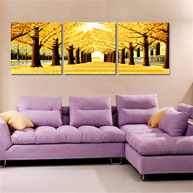 60x75cmx3pcs Gold Montreal Tree Scenery Painting By Numbers DIY Digital Oil Painting On Canvas Home Decor Wall Painting HD0473(China (Mainland))