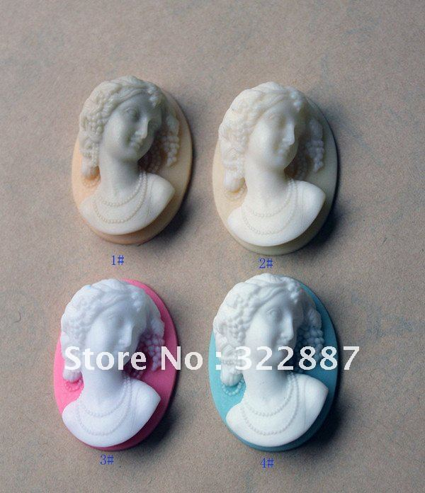 Free shipping 130*40mm 4 Colors Vintage Resin Lady Cameos Cabochons for Necklace Pendants Wholesale 50pcs/lot(China (Mainland))