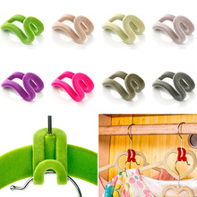 10pcs New cute flocking clothes hanger easy hook creative flocking holder mini anti-clip save room hanger tie on the hook (China (Mainland))