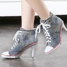 2016 GZ high heel shoes casual women New brand denim heels rivet woman Frayed martin ankle footwear sex fashion lace up OA3(China (Mainland))