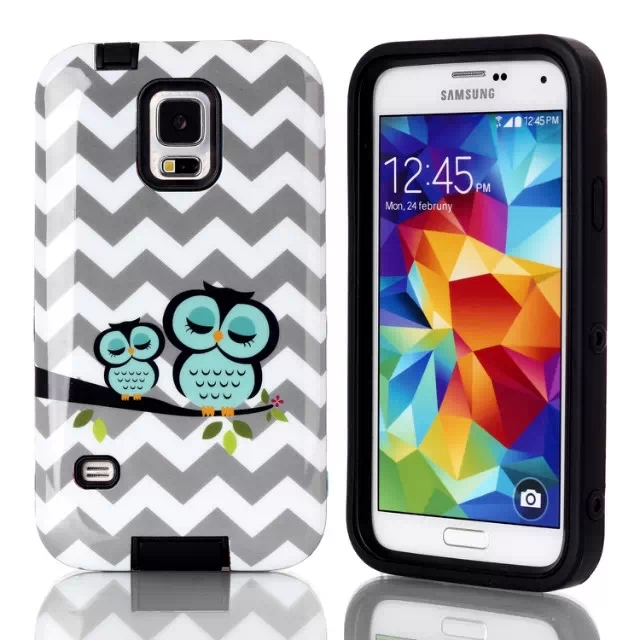 Cute Owl Print Case Cover for Samsung Galaxy S5 i9600 Lovely Cover for Galaxy S5 Hybrid Phone Cases Free Shipping(China (Mainland))
