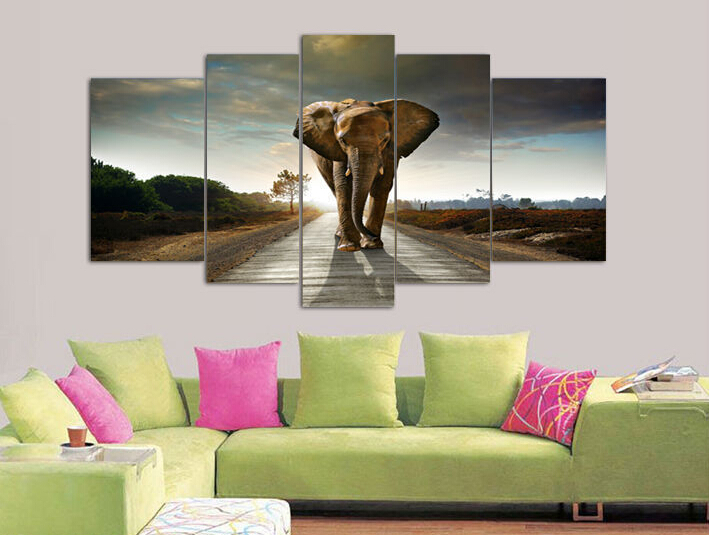 5 Panel Elephant Painting Wall Art Picture Home Decoration Living Room Print