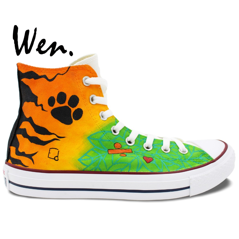 Фотография Gifts For Friend Hand Painted Art Wen Singer Edward Christopher Colourful Canvas Shoes Man Woman High Top Sneakers