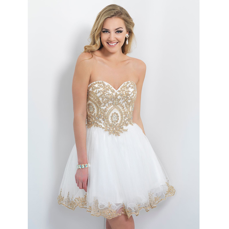 Short White And Gold Prom Dresses 2014 - Missy Dress