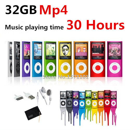 slim 4th gen mp4 player 32GB 9 Colors for choose Music playing time 30Hours fm radio video player free shipping+Gift bag(China (Mainland))