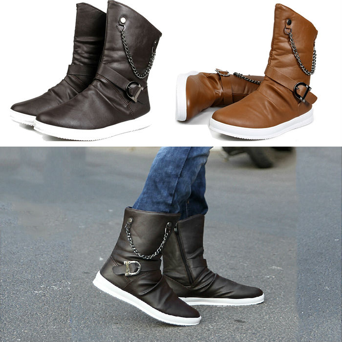 2014 New Arrival british style Fashion Motorcycle Boots Mens autumn Boots slip on Leather Boots botas masculinas free shipping(China (Mainland))