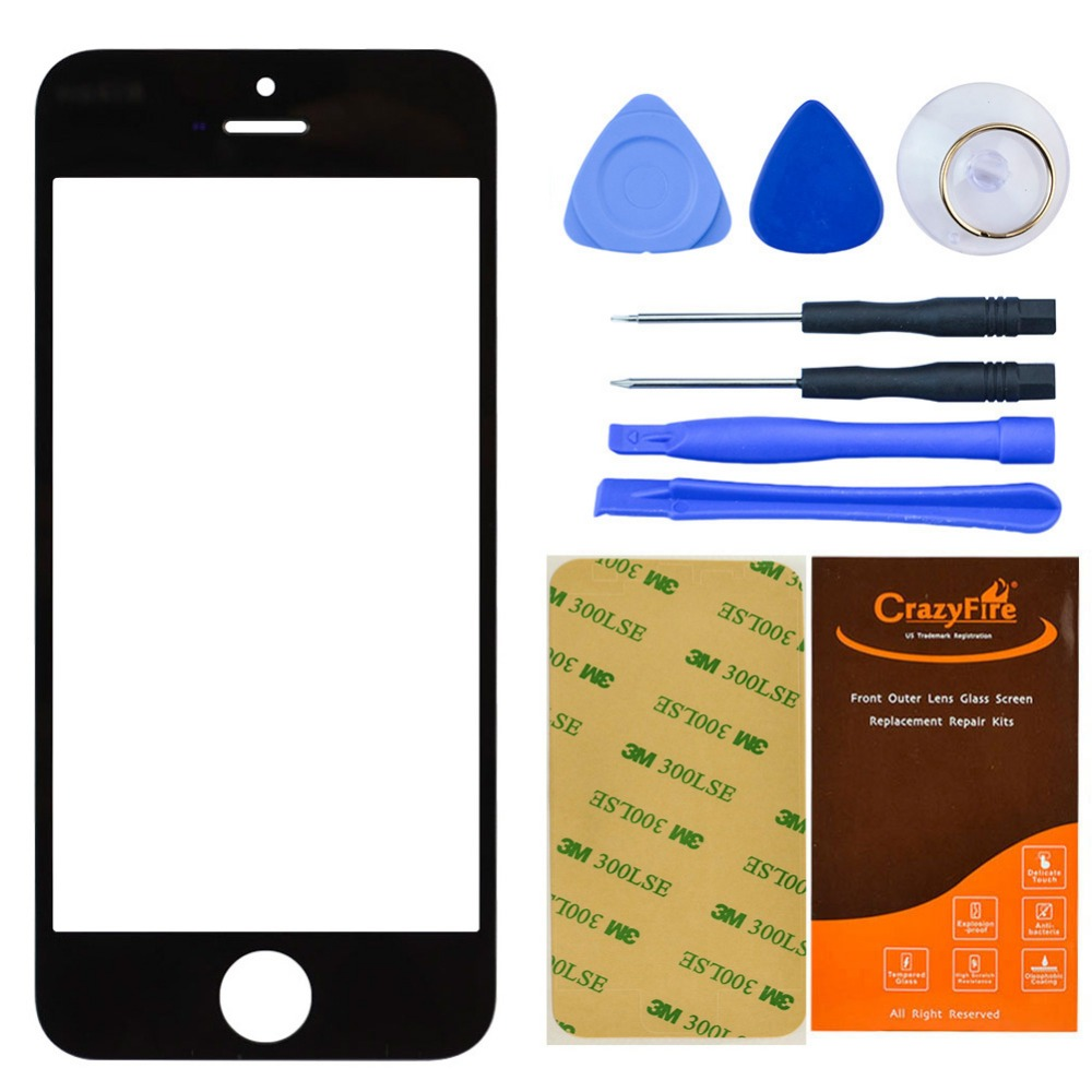"Black Color 4"" Top Front Outer Lens Glass Cover For iPhone 5 5s Broken Screen Glass Replacement With Adhesive and Repair Tools(China (Mainland))"