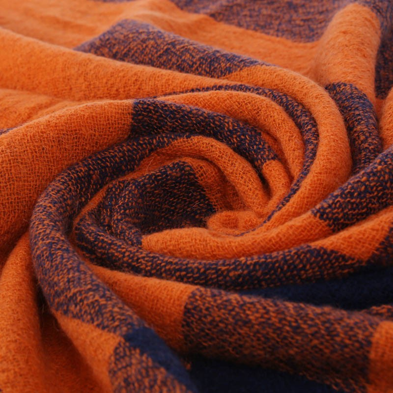 Autumn Winter Female Scarf Women Girls Artificial Wool Scarves  Plaid Pashmina Bright Color Size 200*70cm  Fashion Scraf