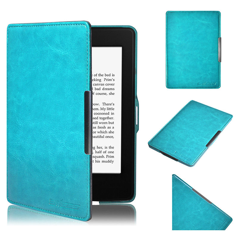 2016 New Arrivial Sky Blue New Magnetic PU Leather Case Cover for Amazon Kindle Paperwhite E Reader Ebook(China (Mainland))