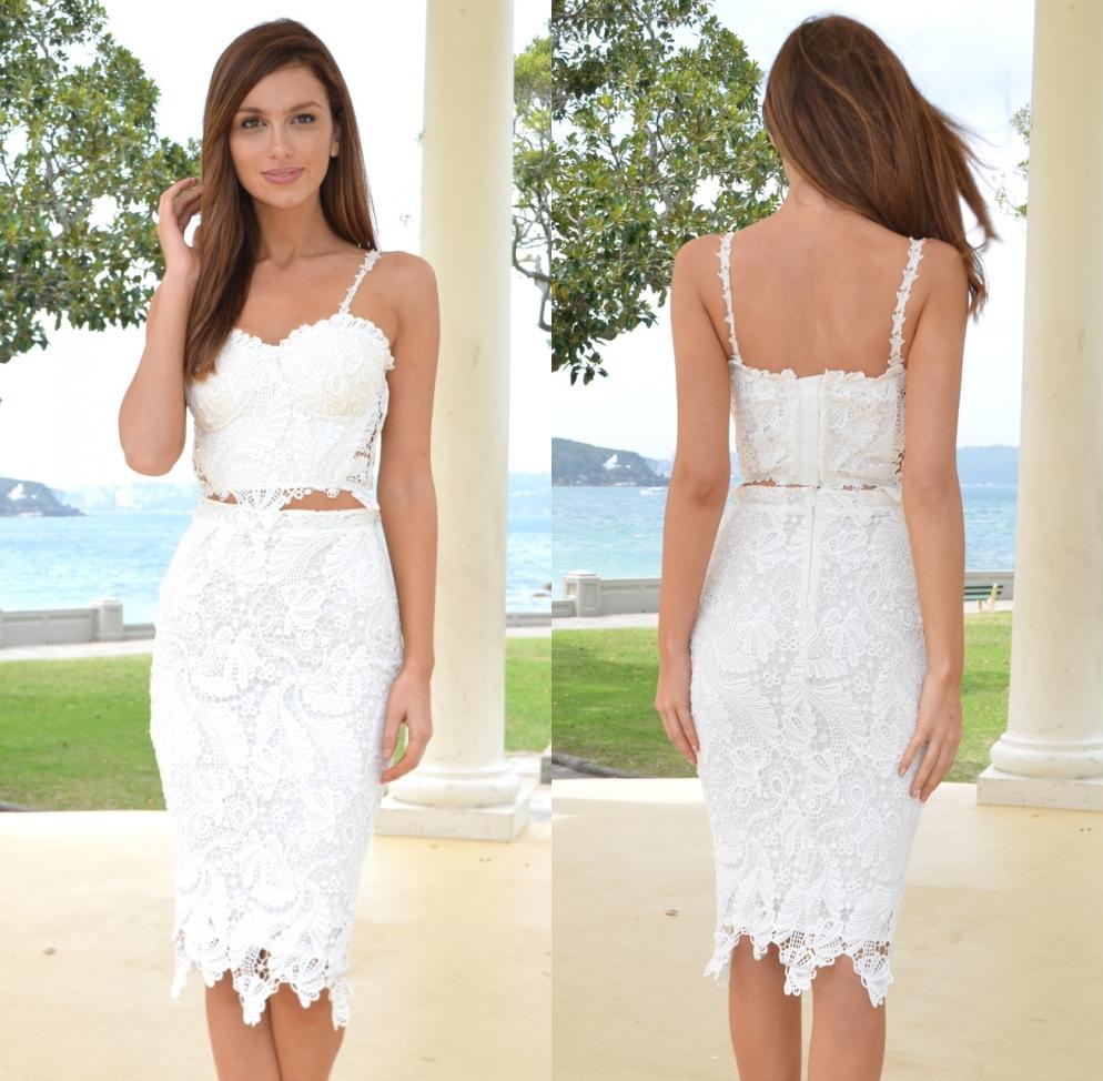 White Cocktail Length Dresses 95