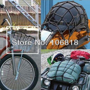 Motorcycle ATV Helmet Stretchable Elastic Bungee Net Luggage Baggage Cargo Bag Web Carrier 40*40cm 6 Hooks Black Orange Blue Red