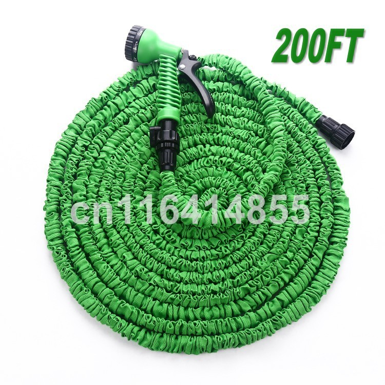 200FT Watering Hoses After Stretched Working Lenght 60M Plastic Connector Blue And Green Garden Water Hose+7 set Spray Gun(China (Mainland))